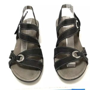 Mephisto Parfolia Black Leather Slingback Sandals
